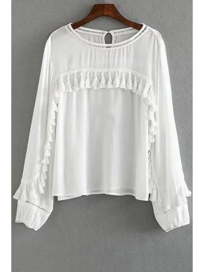 Blanca de la franja de manga larga blusa