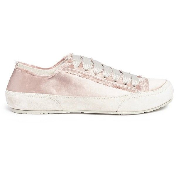 Pedro García 'Parson' satin sneakers ($460) ❤ liked on Polyvore featuring shoes, sneakers, pink, woven shoes, shiny shoes, pink sneakers, pastel sneakers and chunky shoes