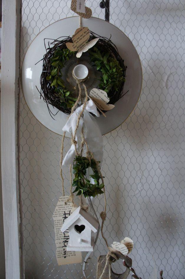 """Frühling - Shabby Terrine+ Deckel """" Frühling - Willko... - ein Designerstück von Hoimeliges bei DaWanda"""