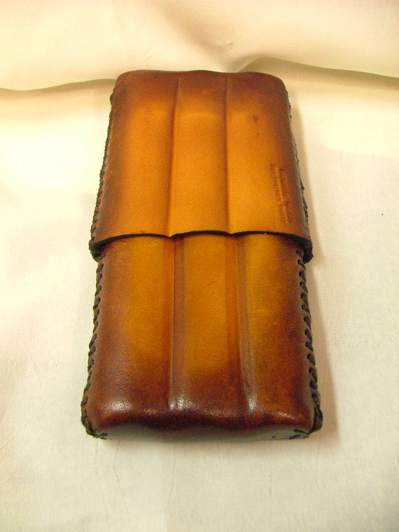 Handmade Leather Cigar Case  Holds 3  Product No CC by ahbelts, $40.00