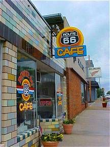 Route 66 Cafe... Cuba, Missouri The cafe is now closed and is being rehabbed. After a car hit the special tile, it was repaired by local craftsmen.