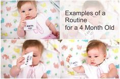 Example routines for 4 month olds showing you what the day and night of an average 4 month old will look like. Including sleep, feed and play times, and the ideal bed time.