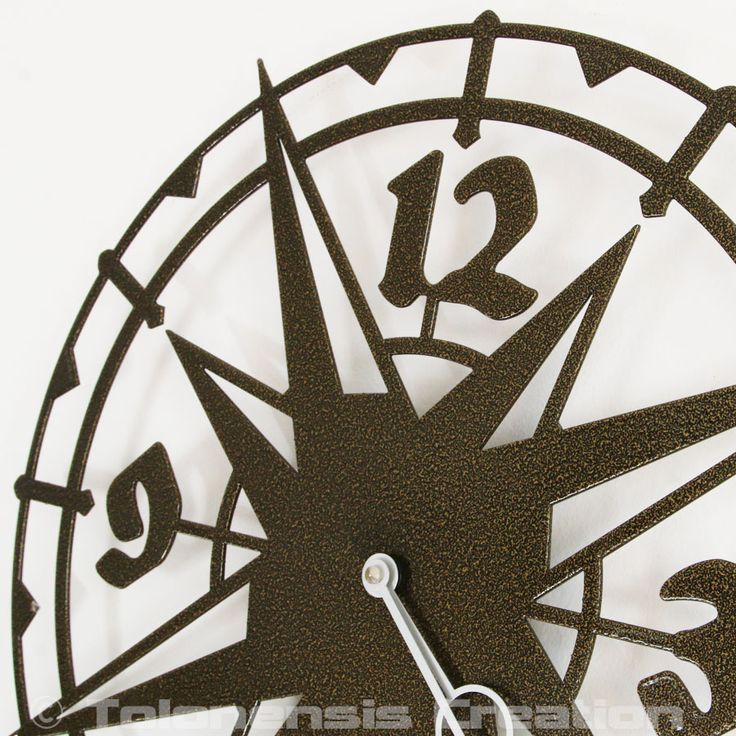 """Metal Wall clock COLOMBUS old gold- 40 cm / 16"""" - Design Jacques Lahitte © Tolonensis Creation [ All right reserved ]"""