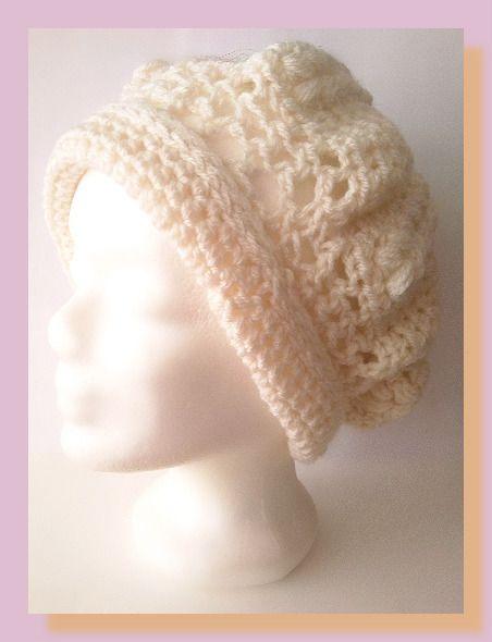 bonnet femme au crochet fil à tricoter écru : Chapeau, bonnet par chely-s-creation