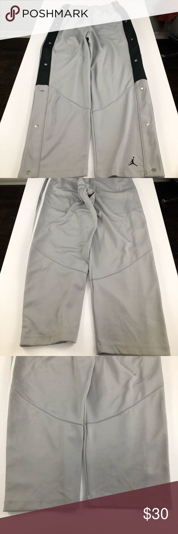Air Jordan Basketball Pants size Large These tear away sweatpants are in great condition. Heels are clean and there are no snags or stains throughout. Snap buttons with Jordan logo on them. See pictures to verify measurements. Please feel free to ask further questions and all offers will be considered.  ••Posh Ambassador•• ••Bundle for Maximum Savings•• Air Jordan Pants Sweatpants & Joggers