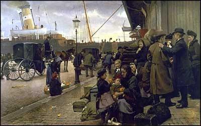 Edvard Petersens maleri Udvandrere paa Larsens Plads fra 1890.