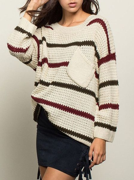 What's better than a boxy oversized sweater? A boxy over sized sweater with stripes! Pair this sweater with leggings and ridding boots in the winter or a skirt and ankle boots during the spring. This