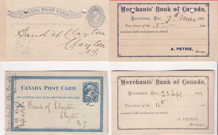 2 - VERY GOOD CANADA POSTCARD1879&83 TO CLAYTON NY MERCHANT'S BANK OF CANADA 309