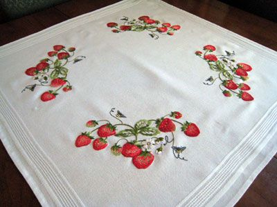 Embroidered Tea Cloth - Strawberries!