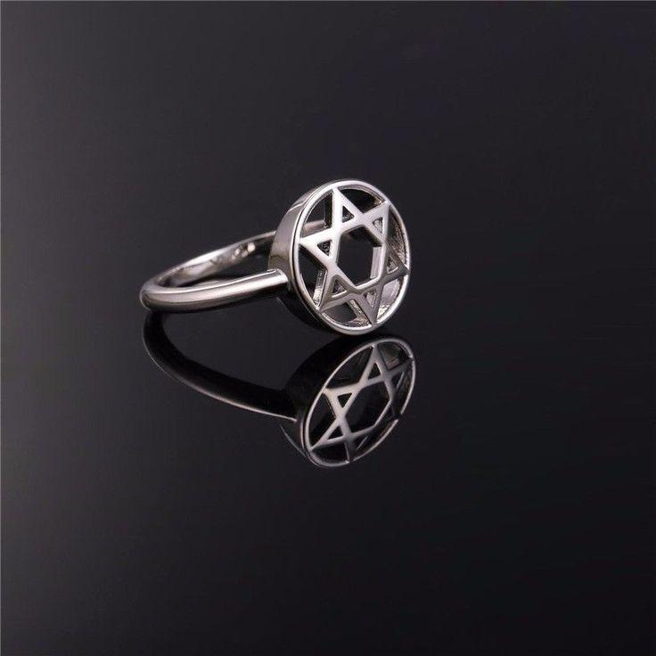 Round Seal Of Solomon Star Of David Stainless Steel Silver Men Women S.6-11 Ring