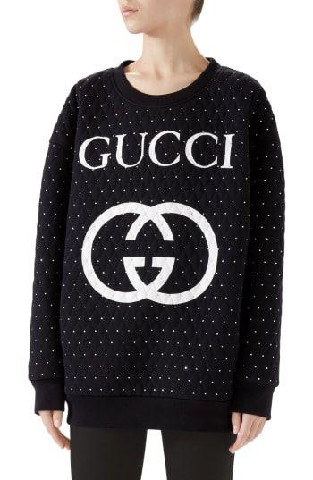 1fa6d6dd814 New Gucci Logo Crystal Sweatshirt. Women Fashion Clothing   2800  from top  store newfashionclo