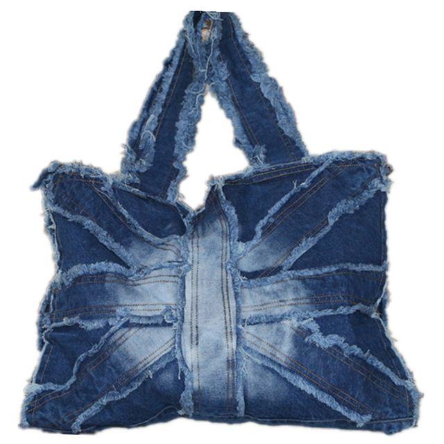Mujeres de la manera del bolso de compras de mano de mano de gran tamaño de mezclilla ocasional oscuro/ciel azul washed jeans ocio bolsa de hombro para los viajes a pie