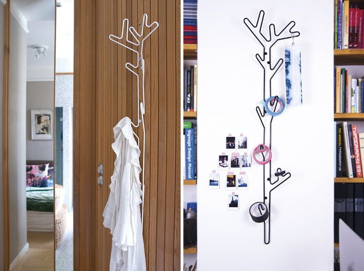 Tall and slim, these metal black and white modern hangers inspired by branches are perfect for small spaces as they utilise their length to hang clothes or other items.