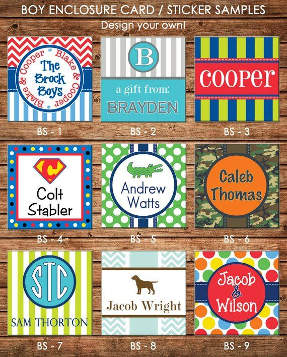 Set of 24 Custom Personalized Square Gift Enclosure Stickers or Cards 2.5 x 2.5