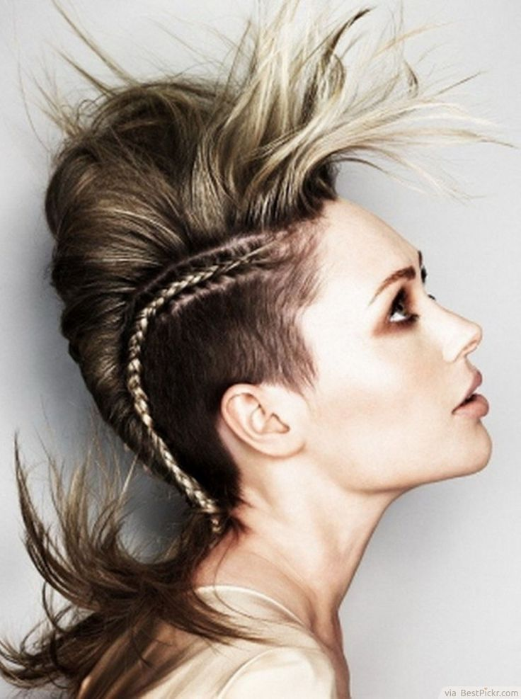 Medium Brown Mohawk With Braid Haircut ❥❥❥ http://bestpickr.com/punk-hairstyles-for-girls