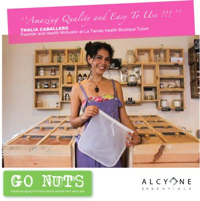 www.alcyone-essen... / PREMIUM QUALITY FOOD GRADE NYLON NUT MILK BAG / for non-dairy milks, pulp free juicing and sprouting / 10''x12'' 100 microns re-usable white nylon bag / Say goodbye to packaged milks! / Get more vitamin E, enzymes and proteins! / Extra durable / Very strong stitching / Easy to clean / Dry rapidly / Finer mesh for smoother milk / Round bottom / 100% guarantee