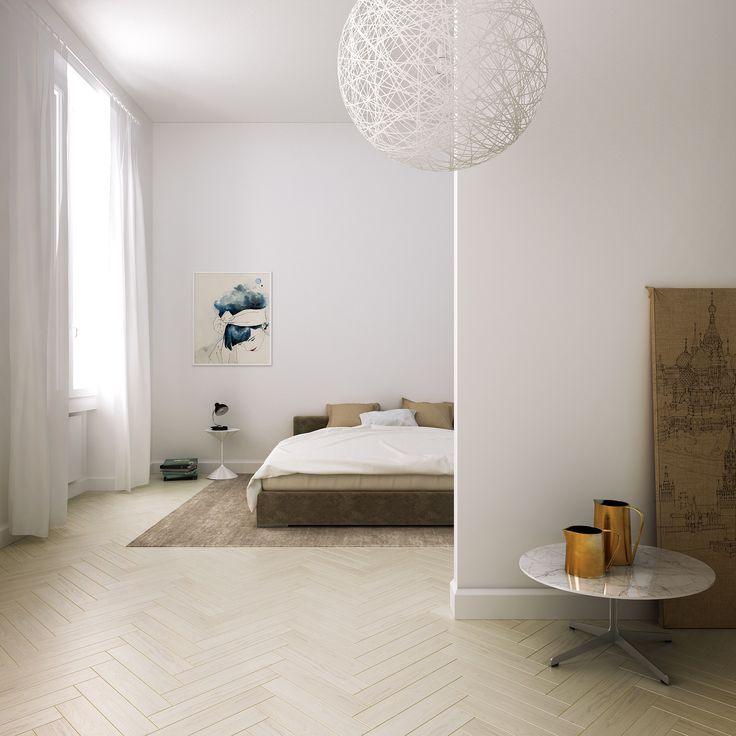 Bedroom view. Private apartment in Florence, Italy by Linee Studio. Light oak parquet and earth tones in minimalist architecture.