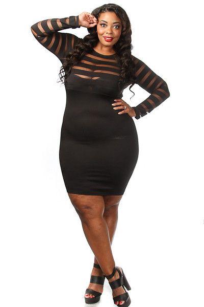 Plus Size Stripe Mesh Top Bodycon Dress … | Pinteres…