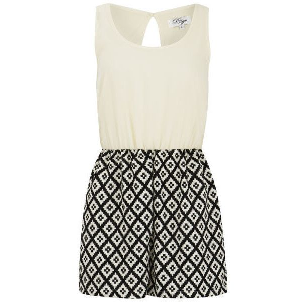 Madam Rage Women's Aztec Print Playsuit ($9.75) ❤ liked on Polyvore featuring jumpsuits, rompers, dresses, playsuits, vestidos, black, jumpsuits & rompers, black jump suit, black sleeveless jumpsuit and sleeveless rompers