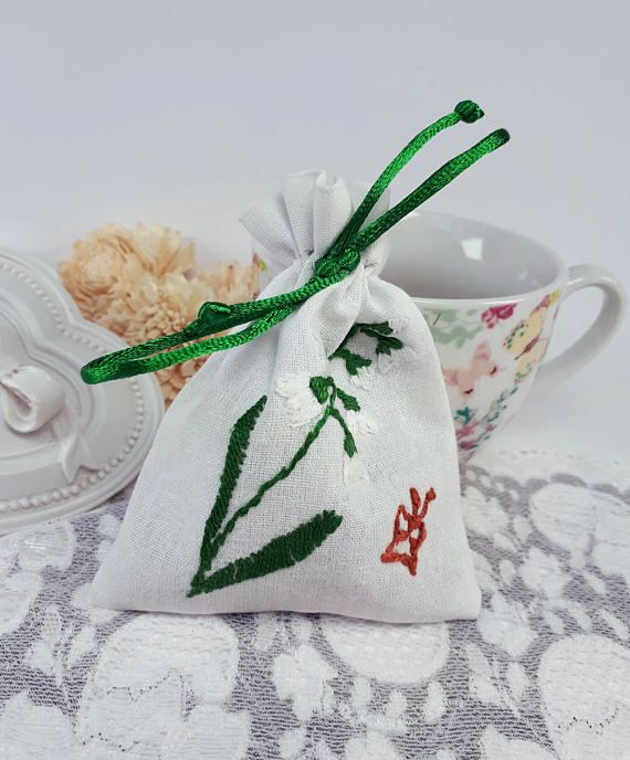Handmade jewelry pouch embroidered textile pouch white coins bag by Rocreanique on Etsy