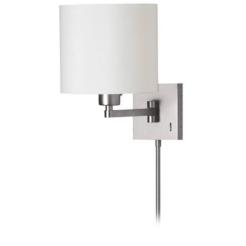 Dmwl112 Sc 1light Cast Metal Swing Arm Lamp White Tapered Drum Shade