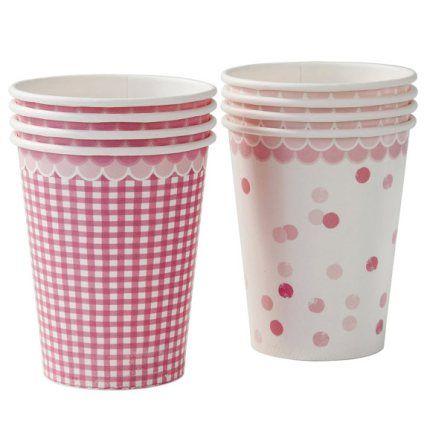 Pink vintage paper cups Søde papkrus i lyserød til bryllup