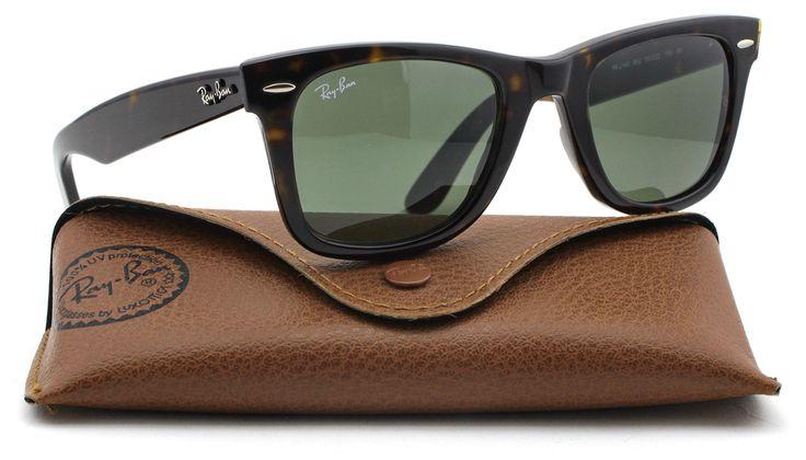 Ray-Ban RB2140 Original Wayfarer Unisex Sunglasses (Tortoise Frame / Green Lens 902, 47). Model: RB2140 Original Wayfarer. Original Ray-Ban Packaging, Box, Case and Cleaning Cloth included. Style: Wayfarer. Gender: Unisex. Case color may occasionally vary.