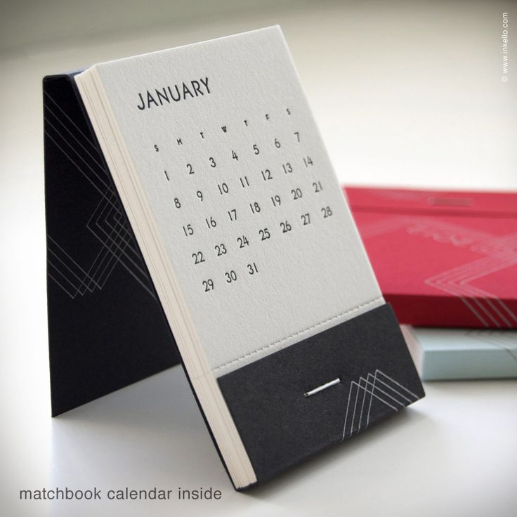 Pocket-sized calendar hand printed on antiqued letterpress. Pages are perforated at the bottom so you can easily tear out the page for each passing month. Available in red, black and blue.
