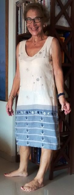 She is happy wearing the cotton dress. I got her fit well. It is drafted by me