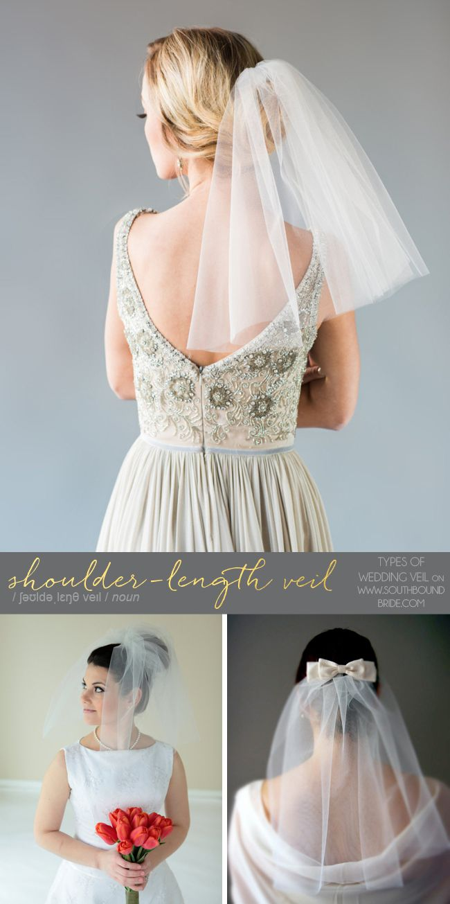Different Types of Wedding Veil: Shoulder-length Veil | SouthBound Bride | http://southboundbride.com/southbound-guide-veil-speak | Credit: KIERA VEIL by YuriC Wedding Shoppe (top; Image by Ever and Anon Photography) | SHOULDER LENGTH Veil with BLUSHER by SE Veils (bottom left) | Grace by Lynn Watt Accessories (bottom right)