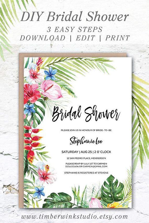 Hawaiian Bridal Shower Tropical Wedding Shower Invitation Printable