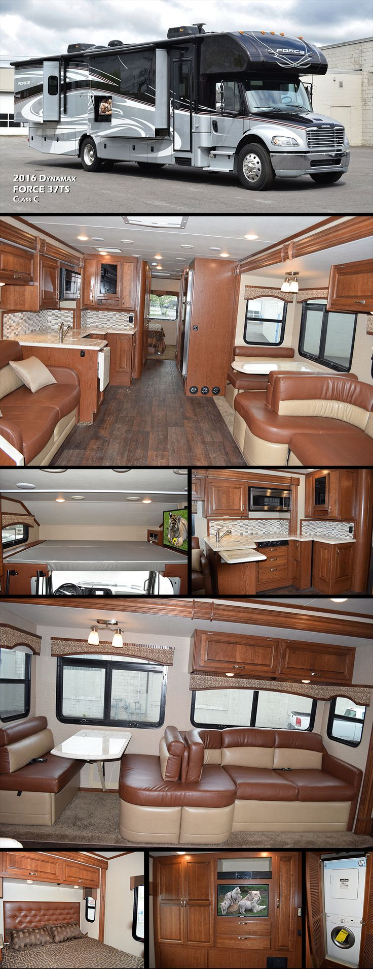 "The all new 2016 Dynamax Force 37TS Super C bunk model is approximately 39 feet with 3 slides. Standards include a king size bed, bunk over cab, bedroom TV, 39"" TV on an electric swivel bracket for the living area and much more."