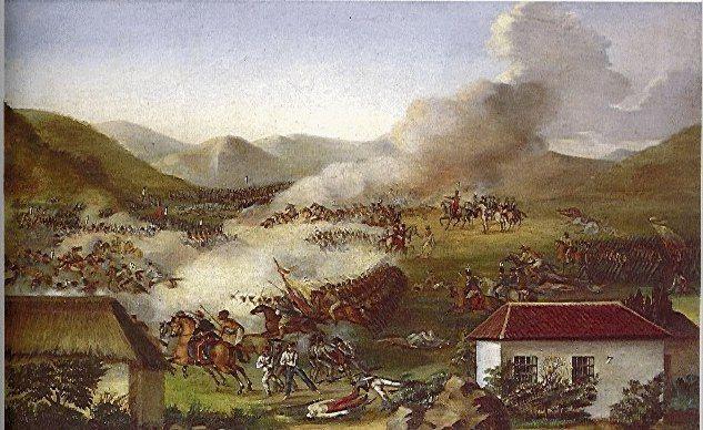 Batalla de Boyacá - Jose Maria Espinosa Prieto (1796-1883)  Técnica:Oleo sobre tela Dimensiones:94x120cms Año (creación o publicación):1840 Ubicación:Museo Quinta de Bolívar. Bogotá.