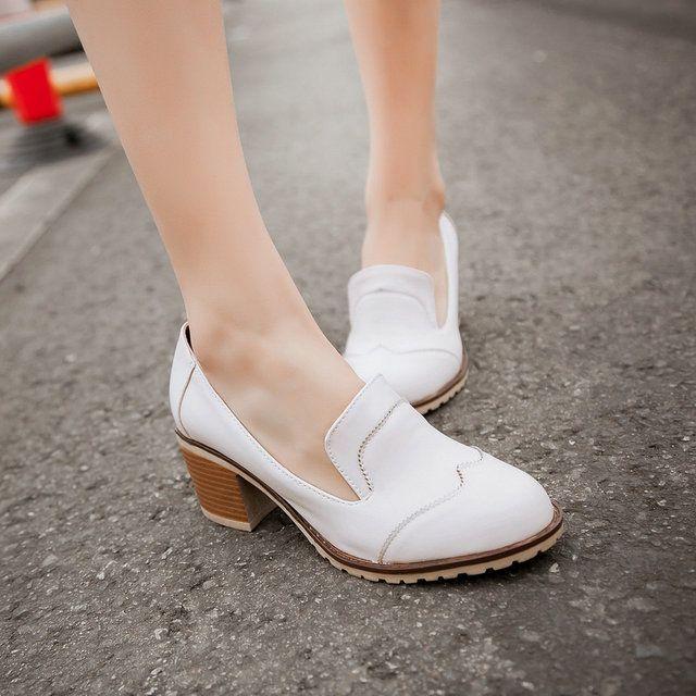 Женские туфли ОЛ пригородных площадь середине каблуки весной и летом ИСКУССТВЕННАЯ кожа Сладкий все матч случайные женщины насос