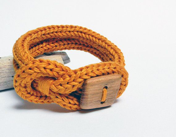 Knot bracelet, mustard yellow cotton bracelet. Square wood button, knitted jewelry. Knit bracelet, unisex via Etsy