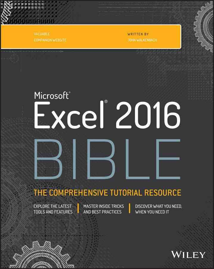 The complete guide to Excel 2016, from Mr. Spreadsheet himself Whether you are just starting out or an Excel novice, the Excel 2016 Bible is your comprehensive, go-to guide for all your Excel 2016 nee