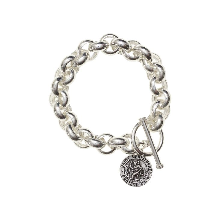 St. Christopher Chunk Bracelet - Chunky bracelet featuring the Patron Saint of Travel, St. Christopher is a great totem for travellers and those who long to wander.