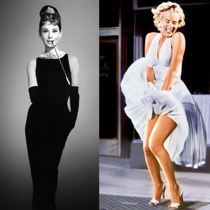 Ah the classic duo. The mix of sexy and sophisticated. Audrey dons a black dress, pearls, tiny crown, and shades. Marilyn slips into a plunging white cocktail dress, white heels, and red lipstick.Why it wins: They are classic femme icons. And there's no topping the classics.