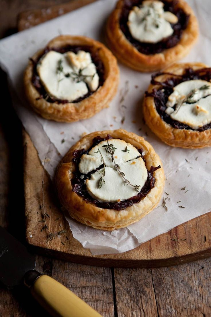 Red Wine, Caramelized Onion and Goat Cheese Puff Pastry Tartlets. The recipe also makes one large tart.