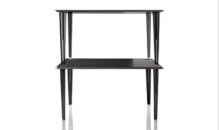 Twin tables, stacking and adjoining. Material: set of legs in die-cast aluminium, polished or painted in polyester powder. Pair of tops in oak plywood painted white or in oak plywood, natural or stained wenge.