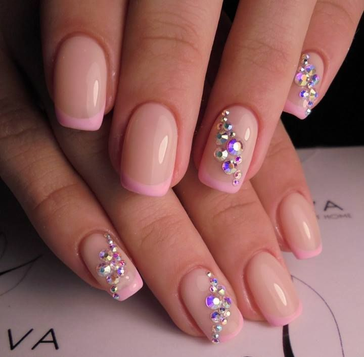Mindblowing Nails With Pink Tips And Colored Beads #Frenchmanicure