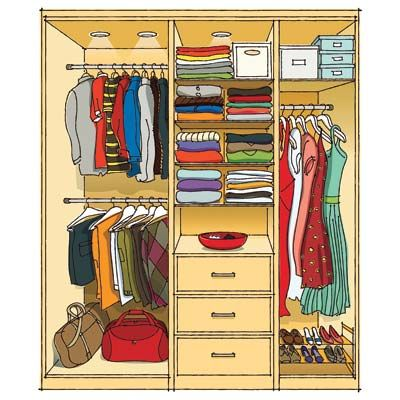 Secrets of smart closet design. | Illustration: Arthur Mount | More @AbdulAziz Bukhamseen Old House.com |