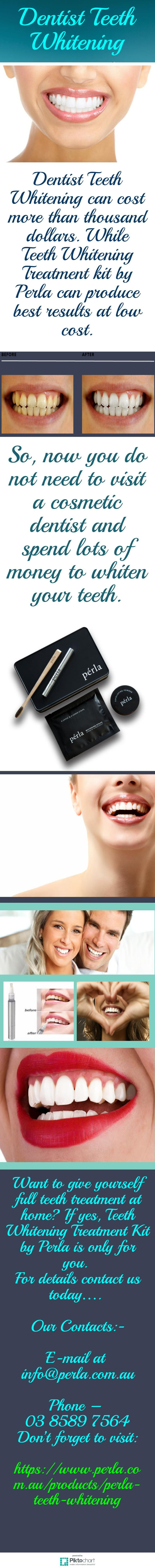 Dentist Teeth Whitening can cost much. On the other hand, with Teeth whitening treatment kit by Perla you can whiten your teeth at home in less cost. For more info, visit link:  http://reviewscircle.com/Teeth-Whitening-4-You?i=homekit
