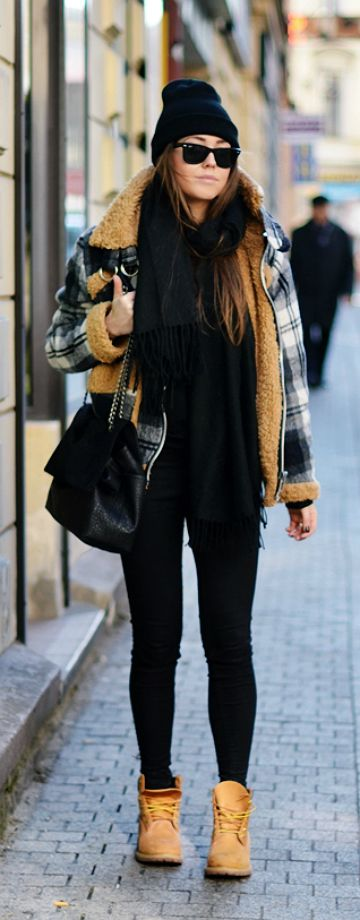 Timberlands | gorro | black | legging | bag | coat | xadrez |