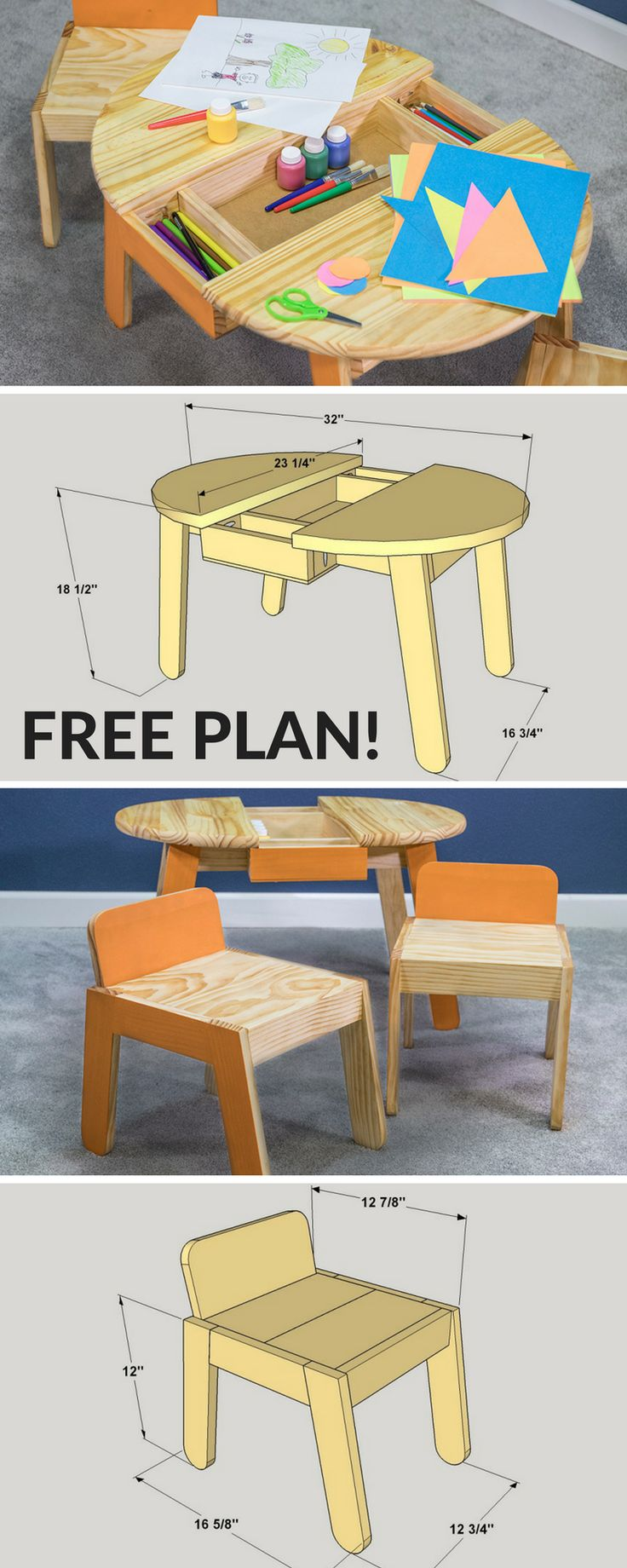 Free Project Plan: This pint-sized art table will help bring out the artist in any child. It features work and storage space, plus a pair of chairs that are sized just right for small kids. Using a pre-made round top keeps the table simple, while a few angles and gentle curves add an extra touch of style. Complete how-to and step-by-step instructions on buildsomething.com!