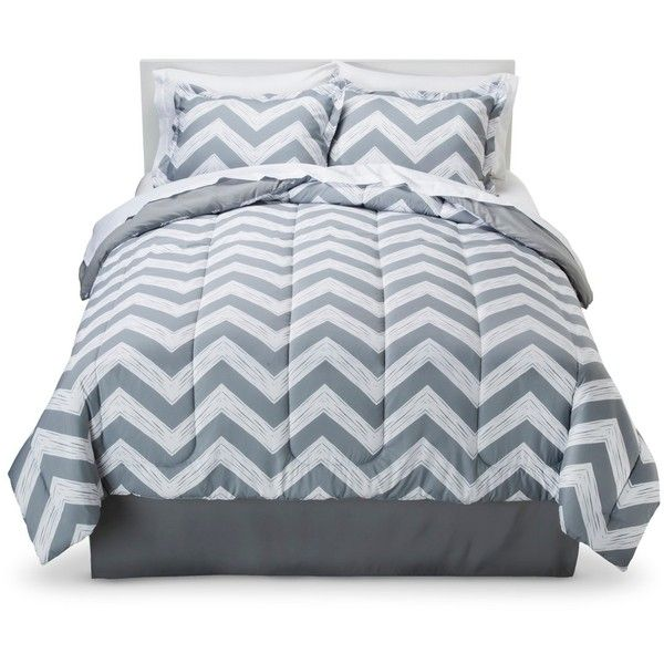 Room Essentials Chevron Bed in a Bag with Sheet Set - Grey Mist ($52) ❤ liked on Polyvore featuring home, bed & bath, bedding, grey chevron bedding, king bedding, california king size bedding, chevron bedding and cal king fitted sheet