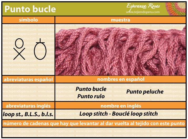 (Crochet) Punto buckle - Loop stitch - Bouclé loop stitch