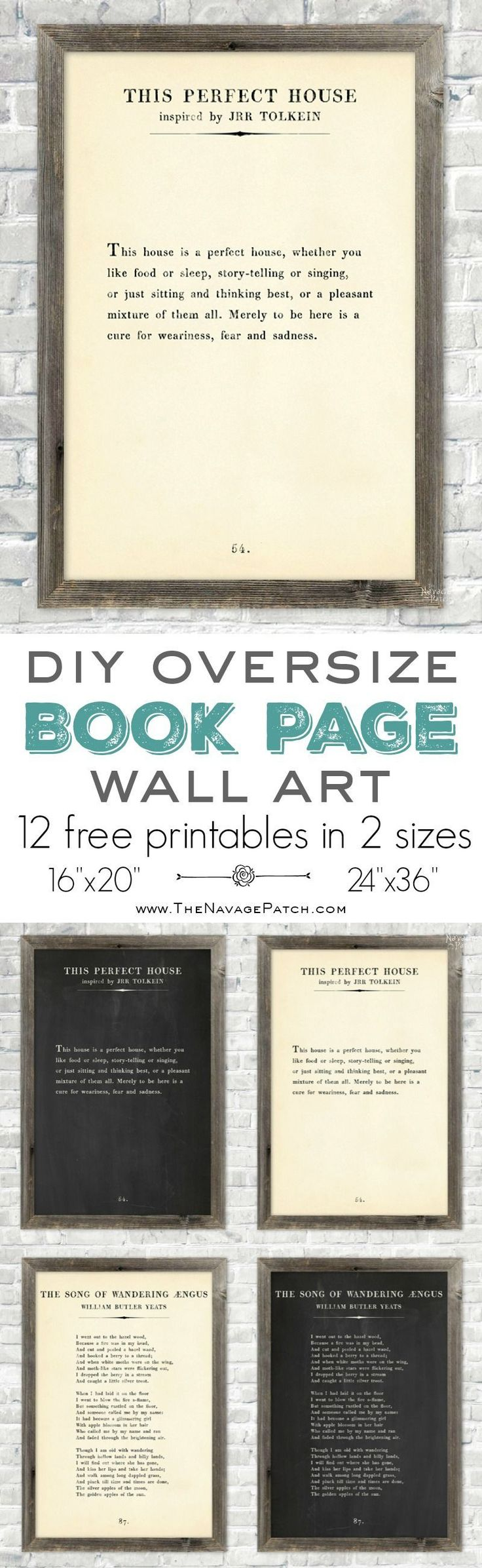 Oversize Book Page Wall Art {12 Free Printables} | 12 free printable high-resolution book page wall art | Amazing set of free printable book page quotes | How to make your own oversized farmhouse style book page quote art | Engineering print vs poster pri