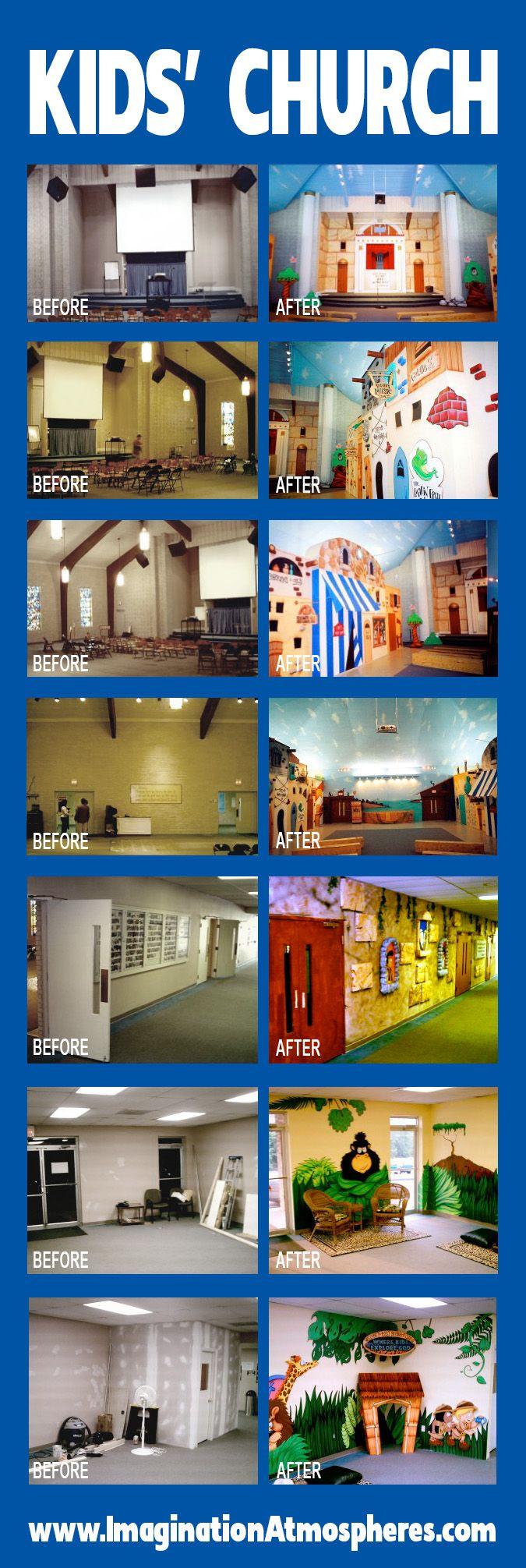 Former church sanctuary remodeled as Jerusalem village for kids. www.ImaginationAtmospheres.com