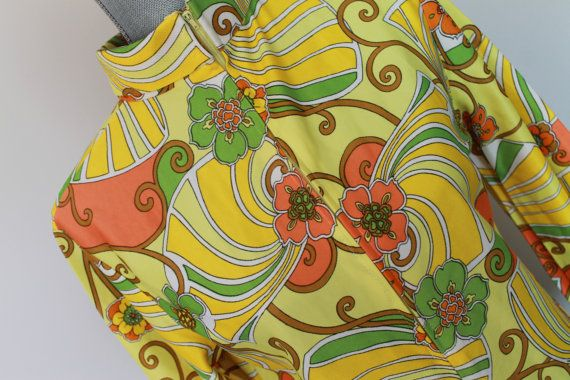 1960's Vintage Yellow Floral Dress  With Zipper  by FunkieFrocks